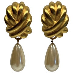 Givenchy 1980s Satin Gold & Pearl Pendant Earrings