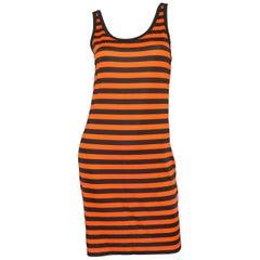 Givenchy 2017 Orange Black Striped Sheer Tank Dress