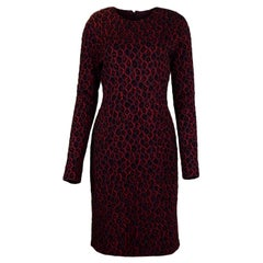 Givenchy 2019 Black Burgundy Leopard Print Longsleeve Dress NWT sz L rt. $2,290
