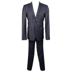 GIVENCHY 40 Short Navy Wool Notch Lapel Suit