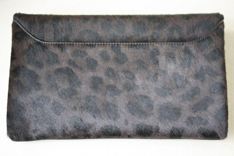 Givenchy Antigona Leopard-Print Calf-Hair and Leather Envelope Clutch In Excellent Condition For Sale In London, GB