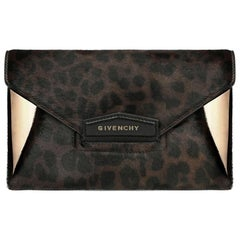 Givenchy Antigona Leopard-Print Calf-Hair and Leather Envelope Clutch