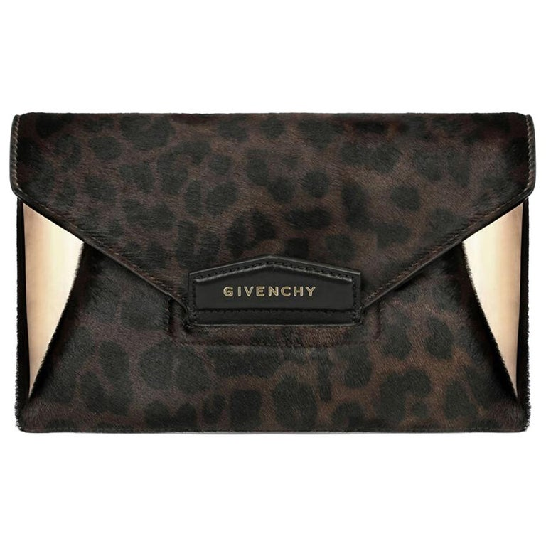 Givenchy Antigona Leopard-Print Calf-Hair and Leather Envelope Clutch For Sale