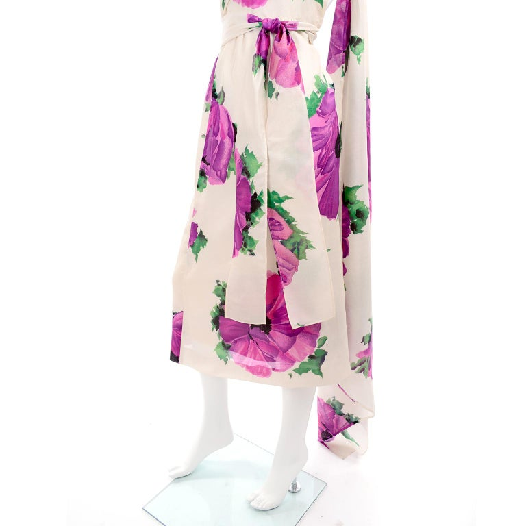 Givenchy Att Haute Couture Vintage Purple Pink Floral Silk Dress & Atelier Hat For Sale 5