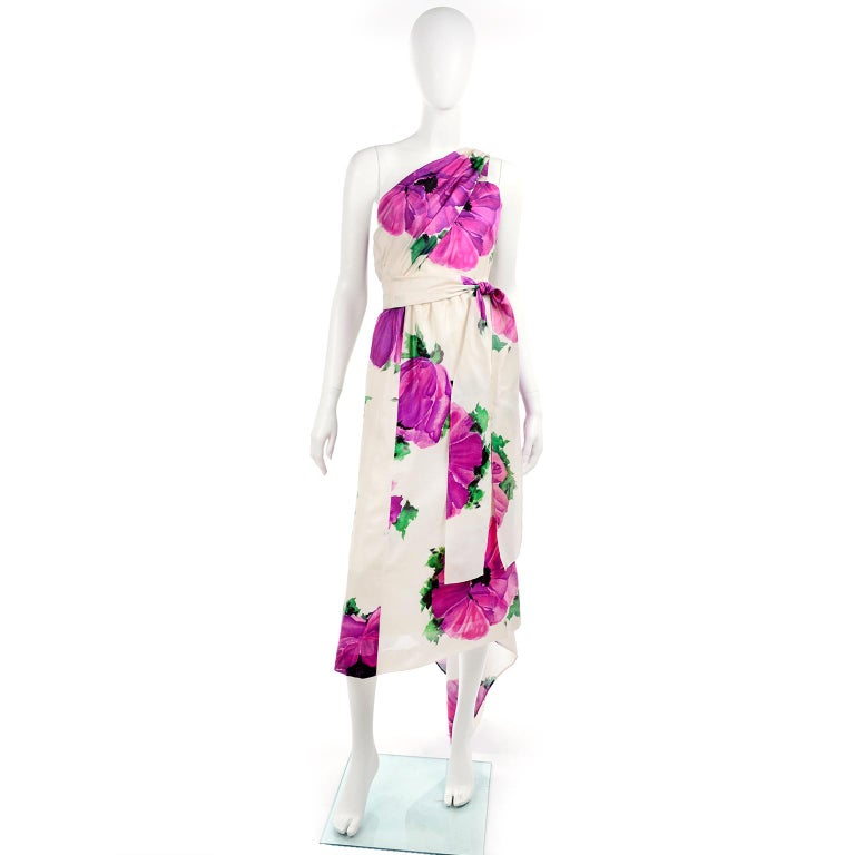 Gray Givenchy Att Haute Couture Vintage Purple Pink Floral Silk Dress & Atelier Hat For Sale