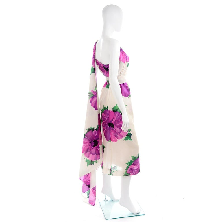 Givenchy Att Haute Couture Vintage Purple Pink Floral Silk Dress & Atelier Hat For Sale 2
