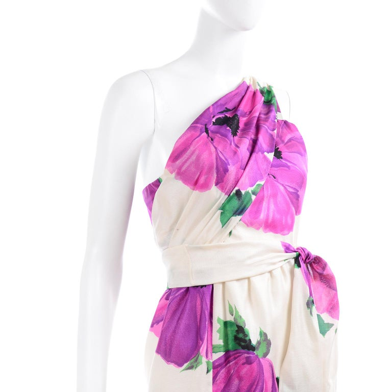 Givenchy Att Haute Couture Vintage Purple Pink Floral Silk Dress & Atelier Hat For Sale 4