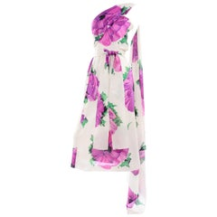 Givenchy Att Haute Couture Vintage Purple Pink Floral Silk Dress & Atelier Hat
