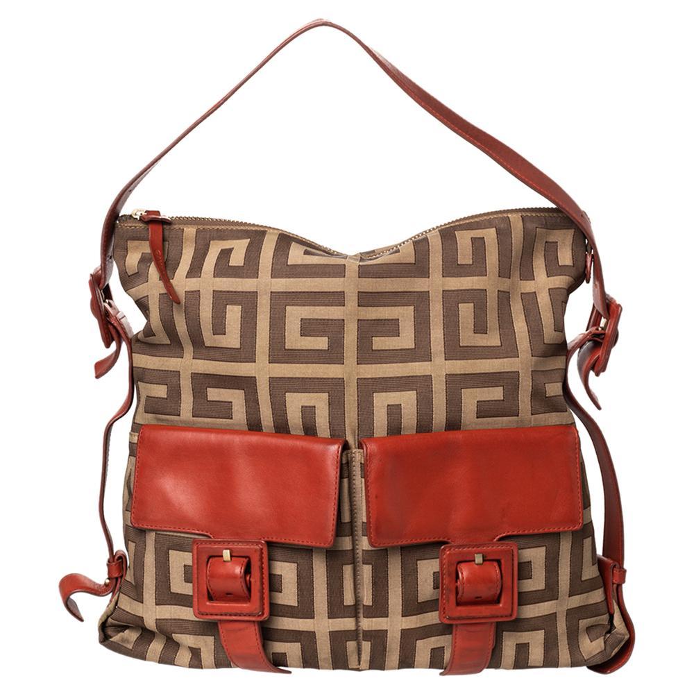 Givenchy Beige/Brown Monogram Canvas and Leather Shoulder Bag