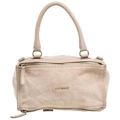 Givenchy Beige Nubuck Croc Embossed Leather Large Pandora Shoulder Bag