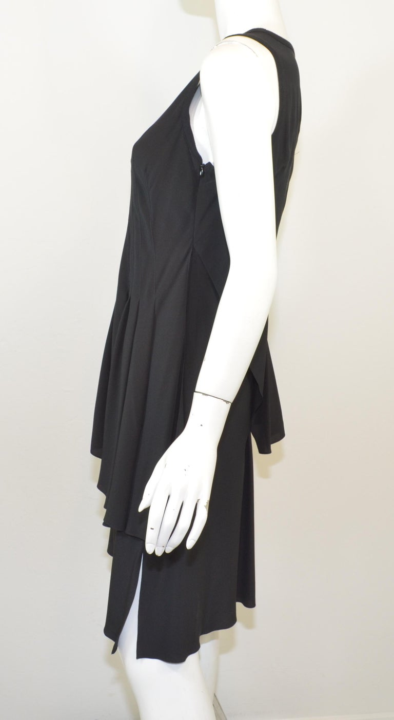 Givenchy Black Asymmetric Pleated Silk Dress NWT In Excellent Condition For Sale In Carmel by the Sea, CA