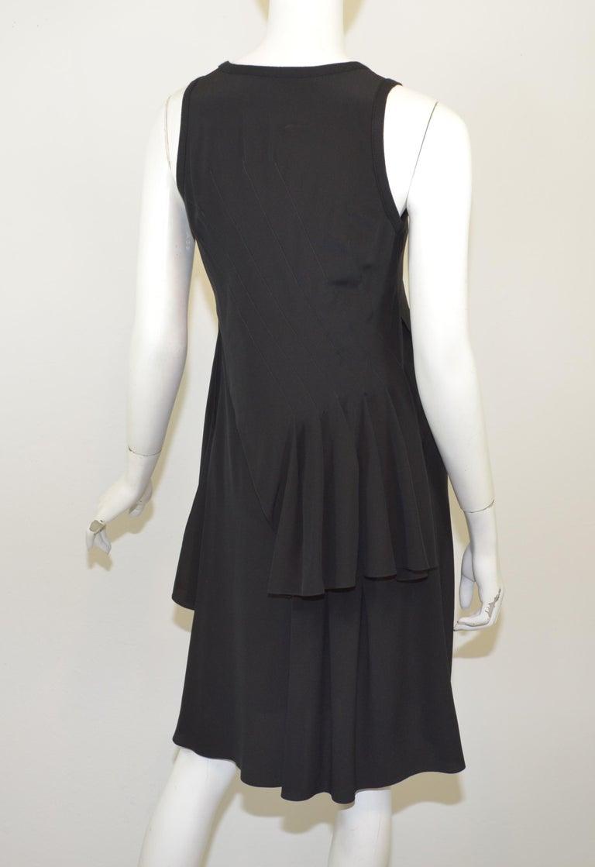 Women's Givenchy Black Asymmetric Pleated Silk Dress NWT For Sale