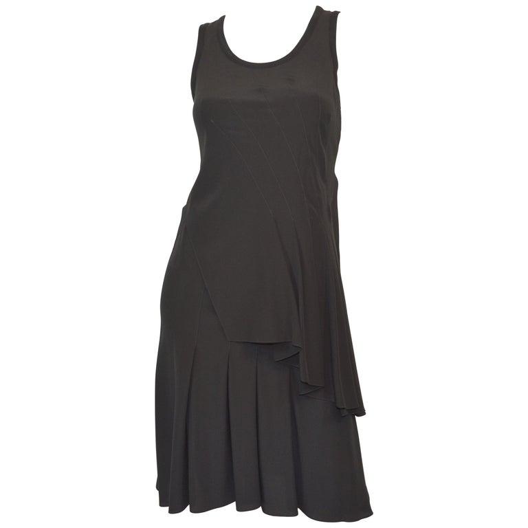 Givenchy Black Asymmetric Pleated Silk Dress NWT For Sale