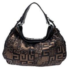 Givenchy Black/Bronze Signature Shimmering Fabric Hobo