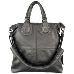 GIVENCHY Black Coated Canvas & Leather North South Nightingale Bag