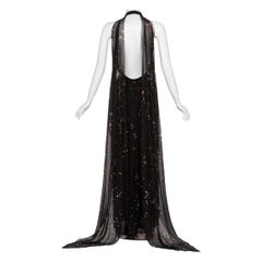 Givenchy Black Confetti Print Silk Cut-Out Back Gown, 2014