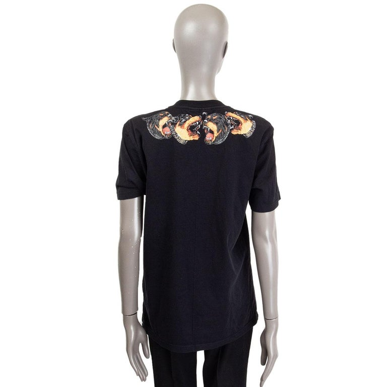 GIVENCHY black cotton ROTTWEILER NECK T-Shirt Shirt L In Excellent Condition For Sale In Zürich, CH
