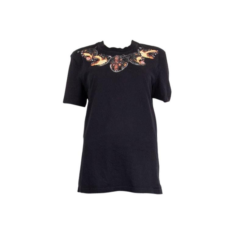 GIVENCHY black cotton ROTTWEILER NECK T-Shirt Shirt L For Sale