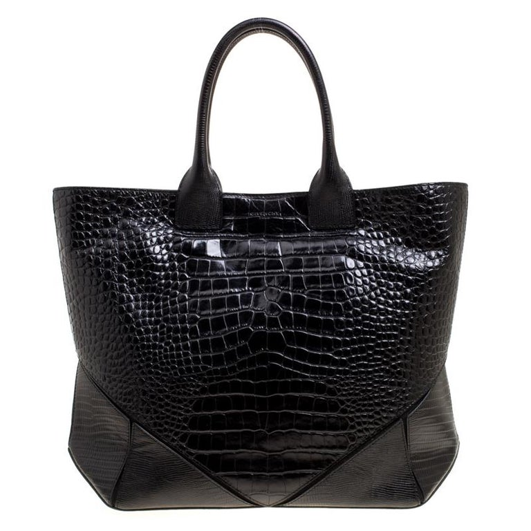bd4cc1d0b13 Givenchy Black Croc Embossed Leather Easy Tote For Sale at 1stdibs