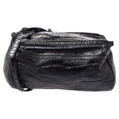 Givenchy Black Croc Embossed Leather Mini Pandora Crossbody Bag