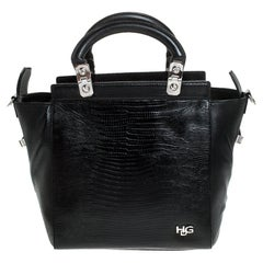 Givenchy Black Croc Embossed Leather Satchel