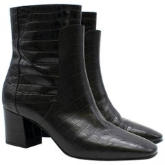 Givenchy Black Crocodile-effect Leather Ankle Boots Size 40