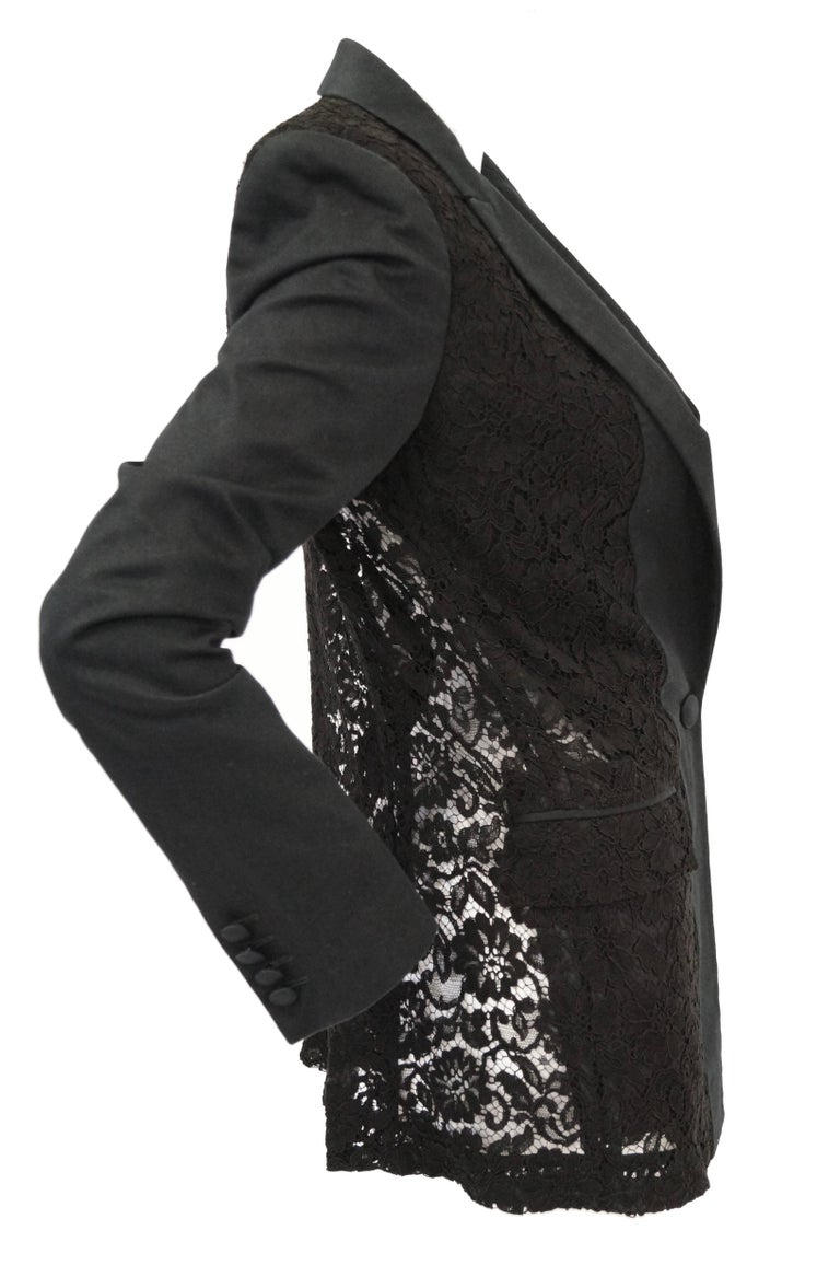 Givenchy Black Floral Lace Back Panel Blazer For Sale 6