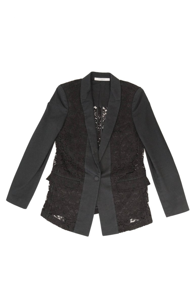 Givenchy Black Floral Lace Back Panel Blazer For Sale 8