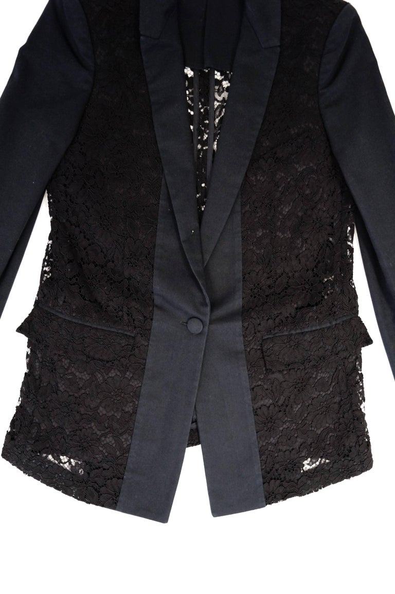 Givenchy Black Floral Lace Back Panel Blazer For Sale 10