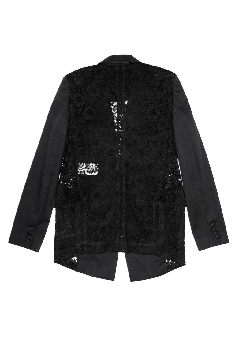 Givenchy Black Floral Lace Back Panel Blazer For Sale 12