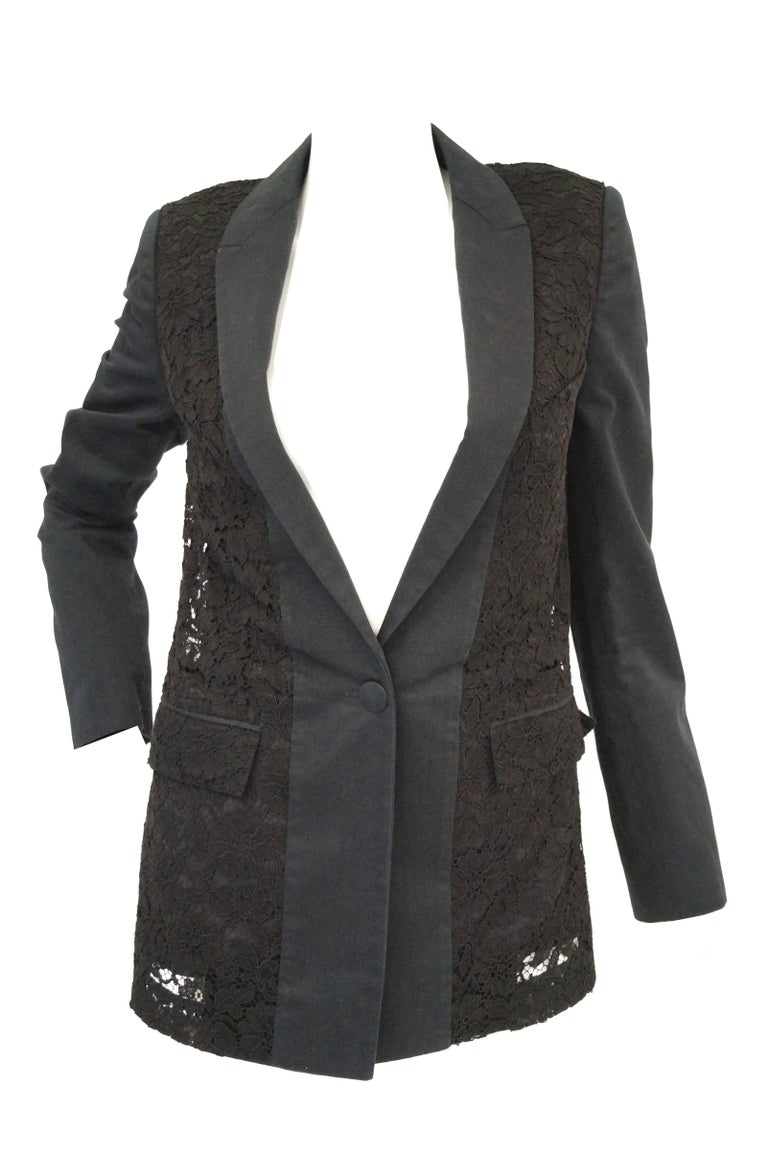 Givenchy Black Floral Lace Back Panel Blazer In Excellent Condition For Sale In Houston, TX