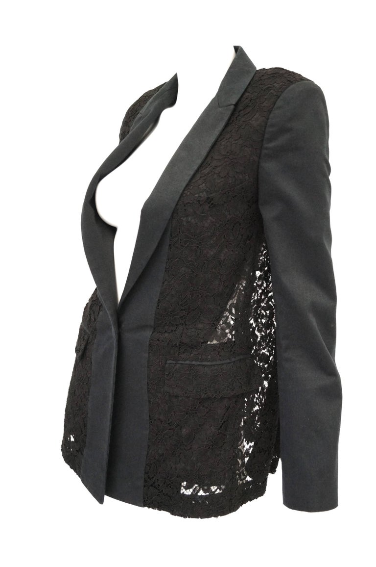 Women's Givenchy Black Floral Lace Back Panel Blazer For Sale