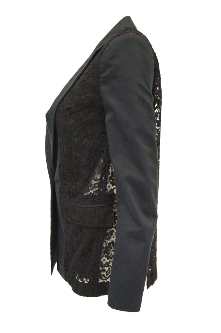 Givenchy Black Floral Lace Back Panel Blazer For Sale 3