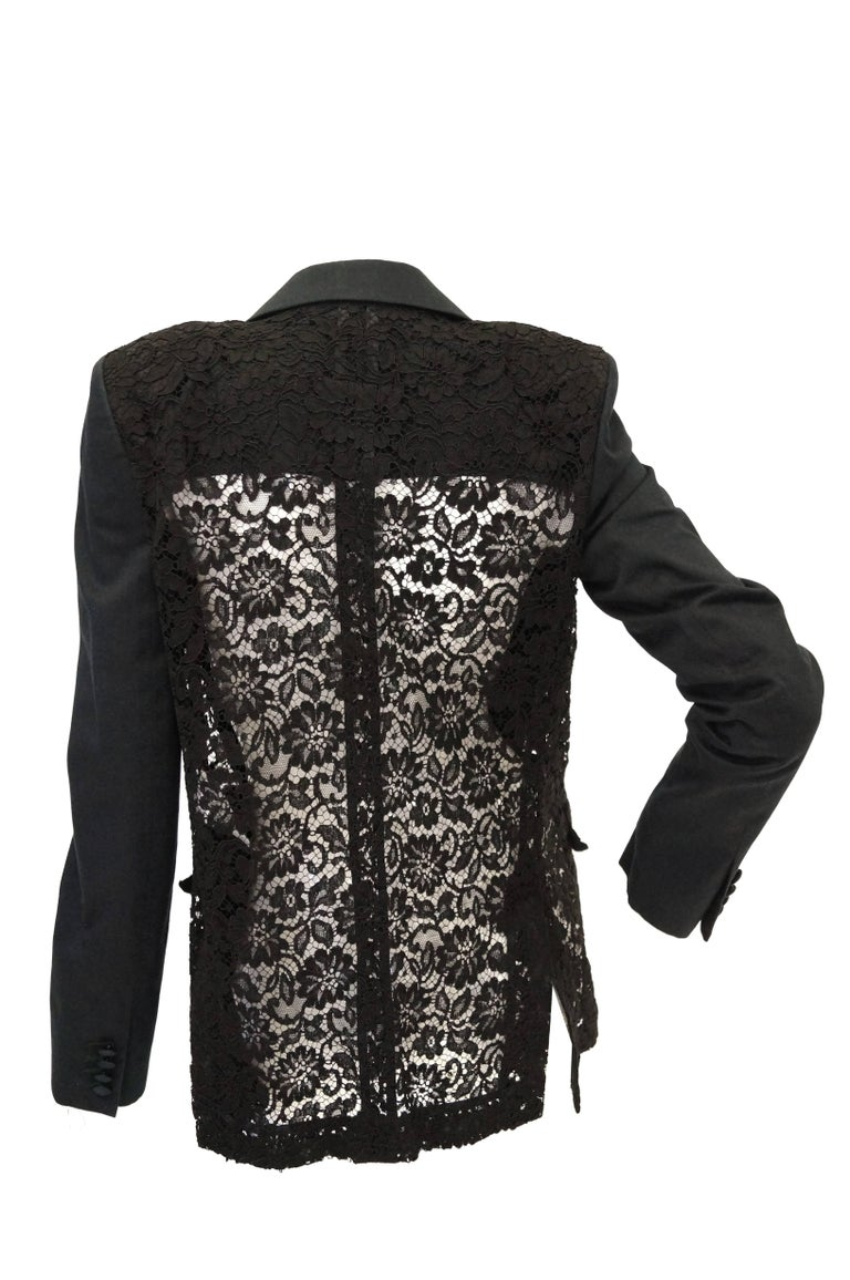 Givenchy Black Floral Lace Back Panel Blazer For Sale 4