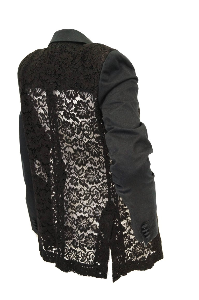 Givenchy Black Floral Lace Back Panel Blazer For Sale 5