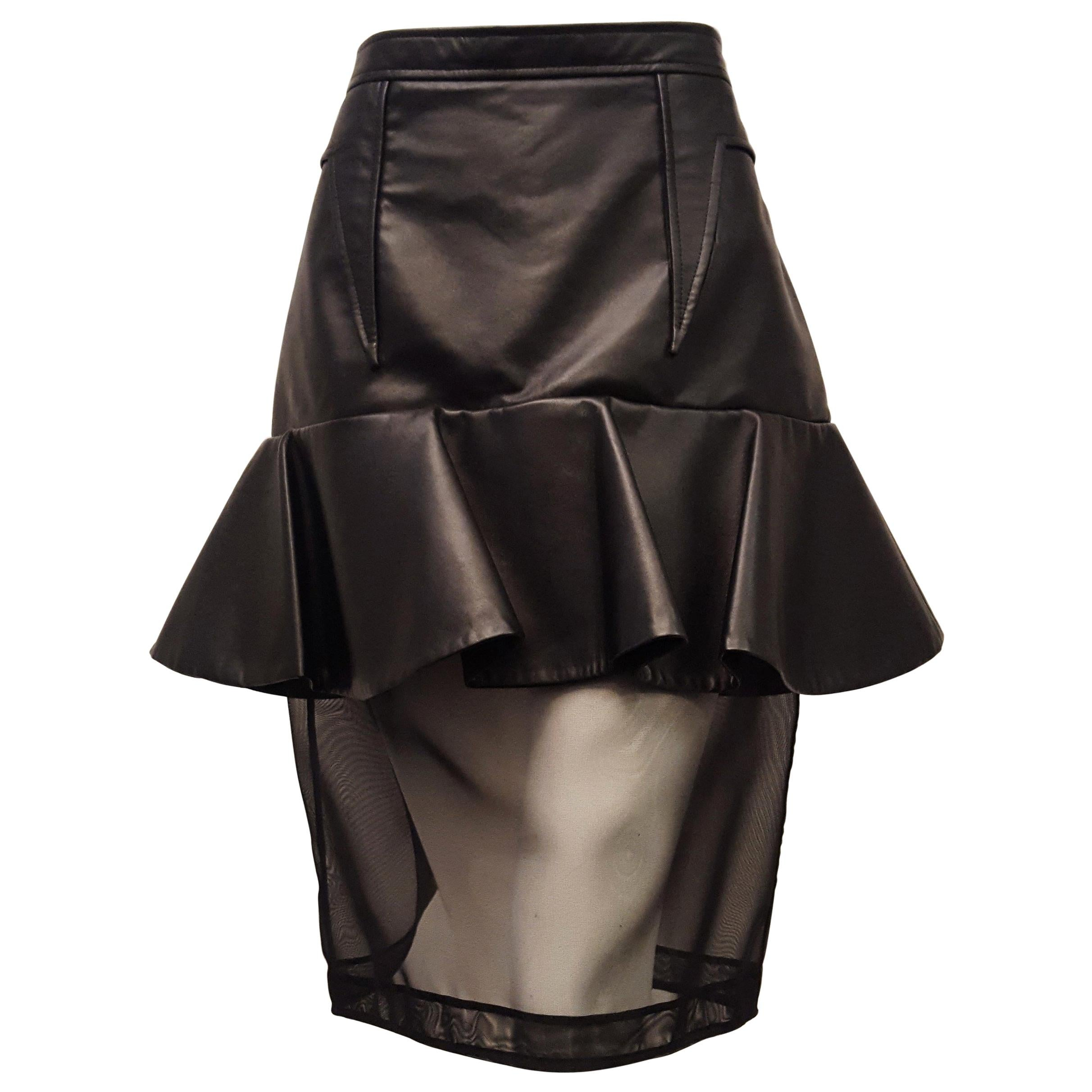 Givenchy Black Leather and Mesh Ruffled Skirt 44 EU