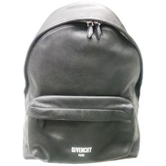 Givenchy Black Leather Backpack with White Logo