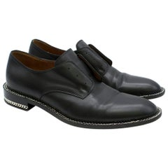 Givenchy Black Leather Chain-Embellished Derby Shoes SIZE 40.5
