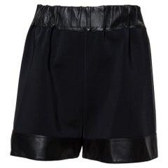 Givenchy Black Leather & Jersey Elasticized Waist Shorts M