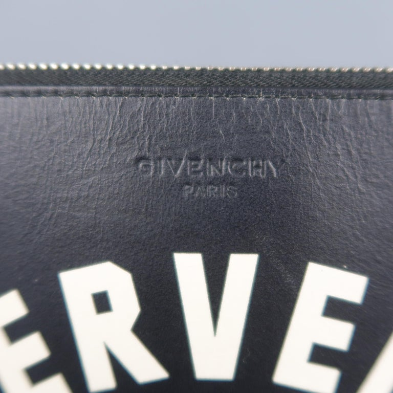 GIVENCHY by RICCARDO TISCI men's pouch clutch comes in black leather with a top zip, embossed logo, leather interior, and cream