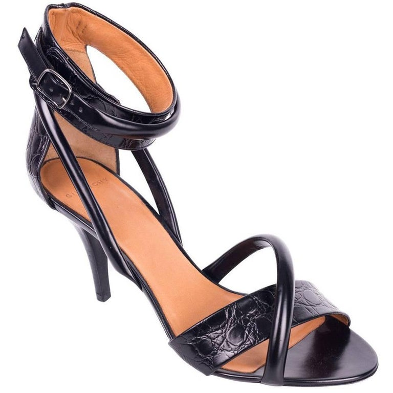 Givenchy Black Leather Reptile Textured Sandal Heels