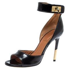 Givenchy Black Leather Sharklock Sandals Size 36