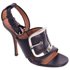 Givenchy Black Leather Silver Buckle Diana Heel Sandals