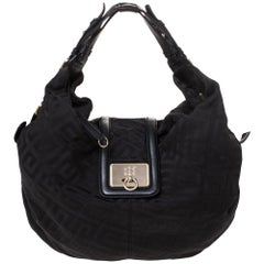 Givenchy Black Monogram Canvas Flap Hobo
