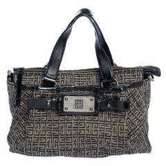 Givenchy Black Monogram Glazed Canvas and Patent Leather Zip Tote