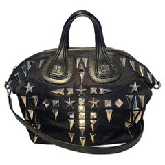 Givenchy Black Nylon and Leather Silver Studded Medium Nightingale Tote Bag