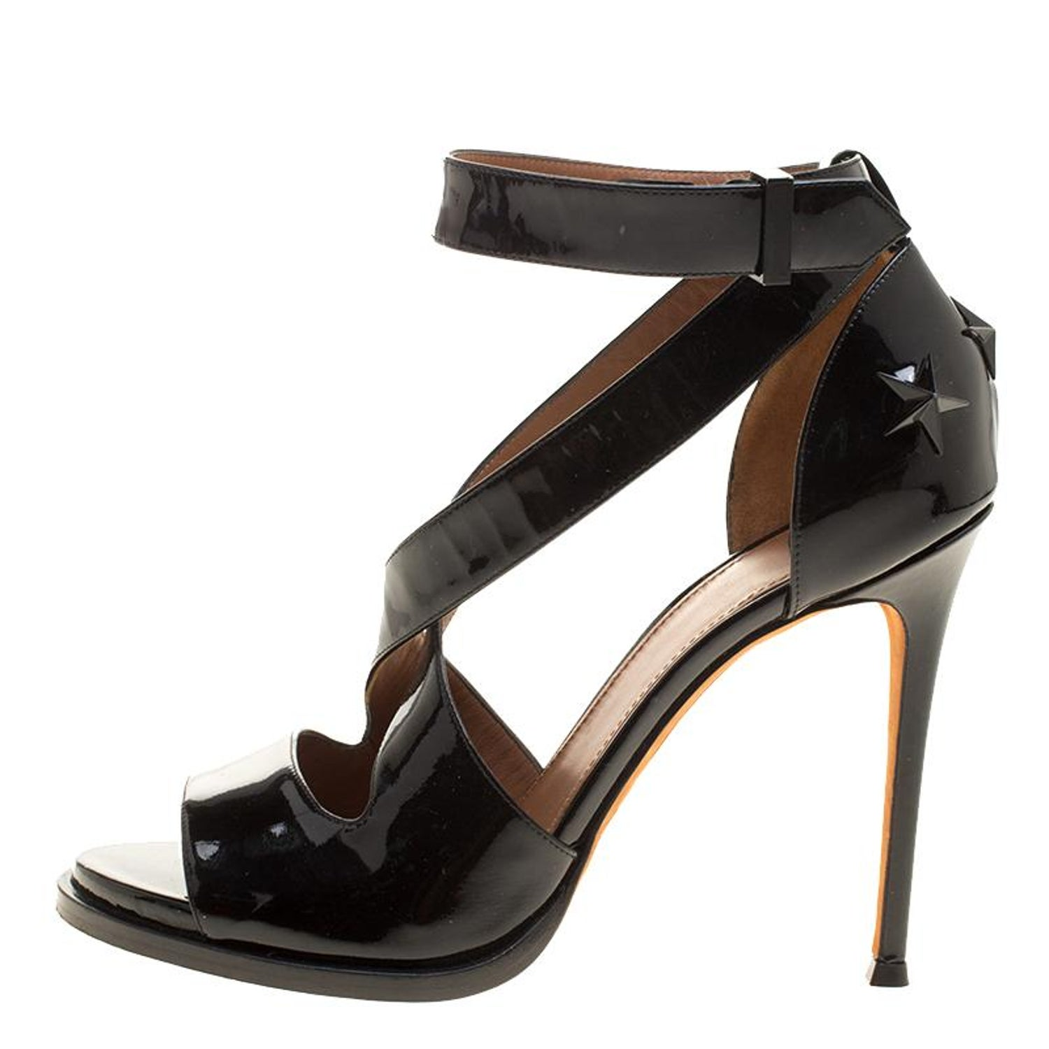 e16b809536c2 Givenchy Black Patent Leather Star Studded Cross Ankle Strap Sandals Size  38.5 For Sale at 1stdibs