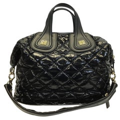 Givenchy Black Patent Quilted Leather Handbag