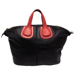 Givenchy Black/Red Leather Nightingale Satchel