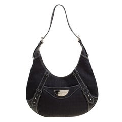 Givenchy Black Signature Canvas and Leather Hobo